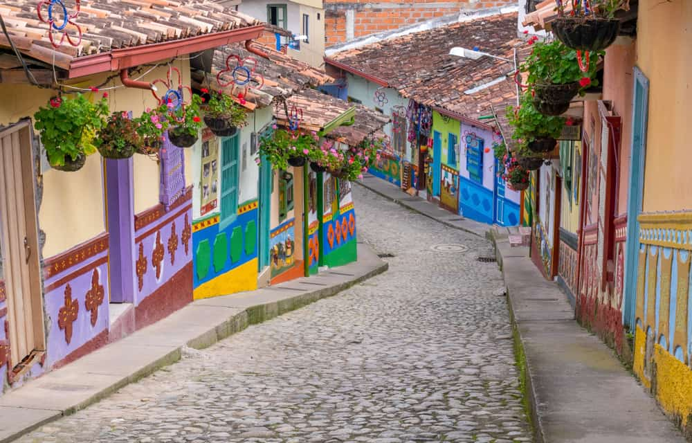 Colombia - Guatape, Colombia. Typically colourful buildings in Guatape Colombia