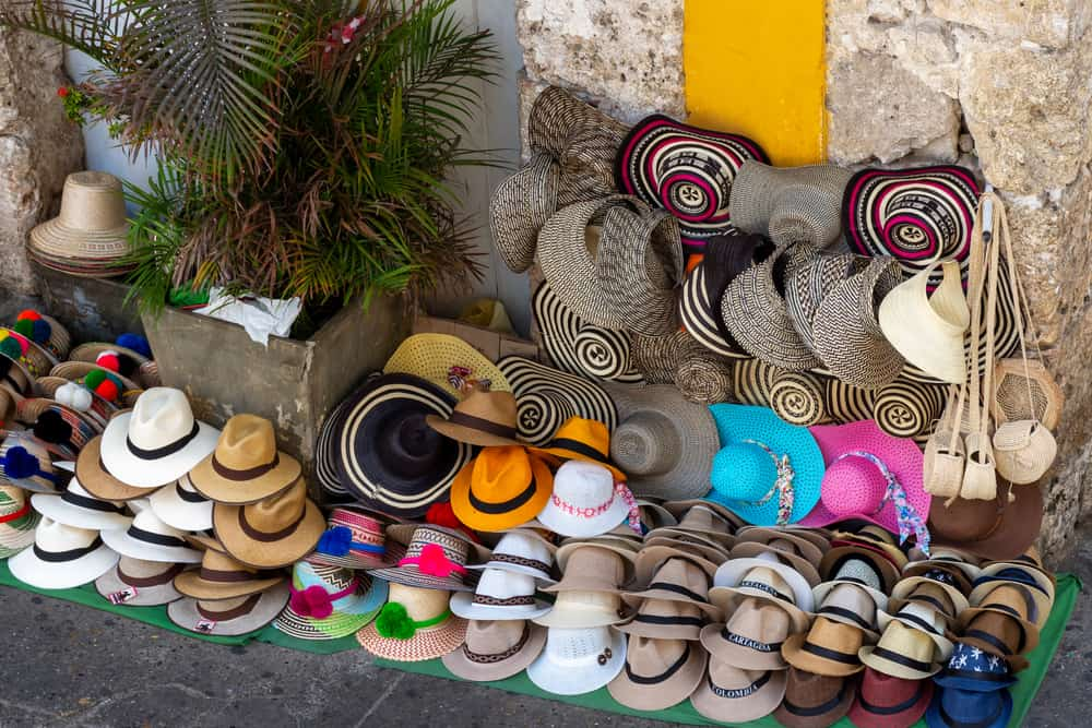 Colombia - Typical hats of regions of Colombia, for sale in the heart of historical walled center