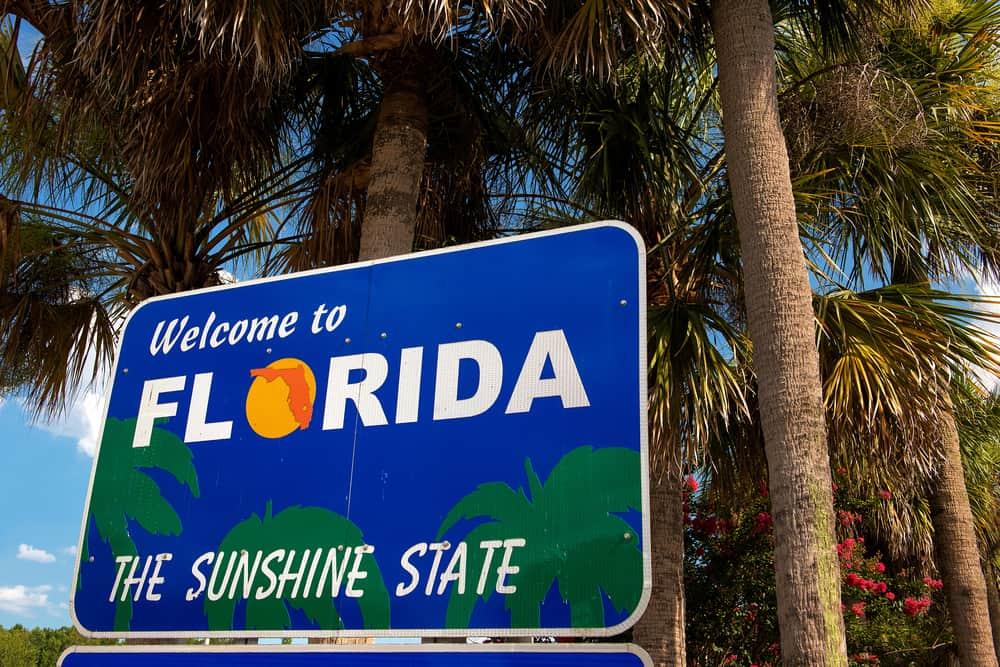 "USA - Georgia - ""Welcome to Florida"" sign (The Sunshine State)"