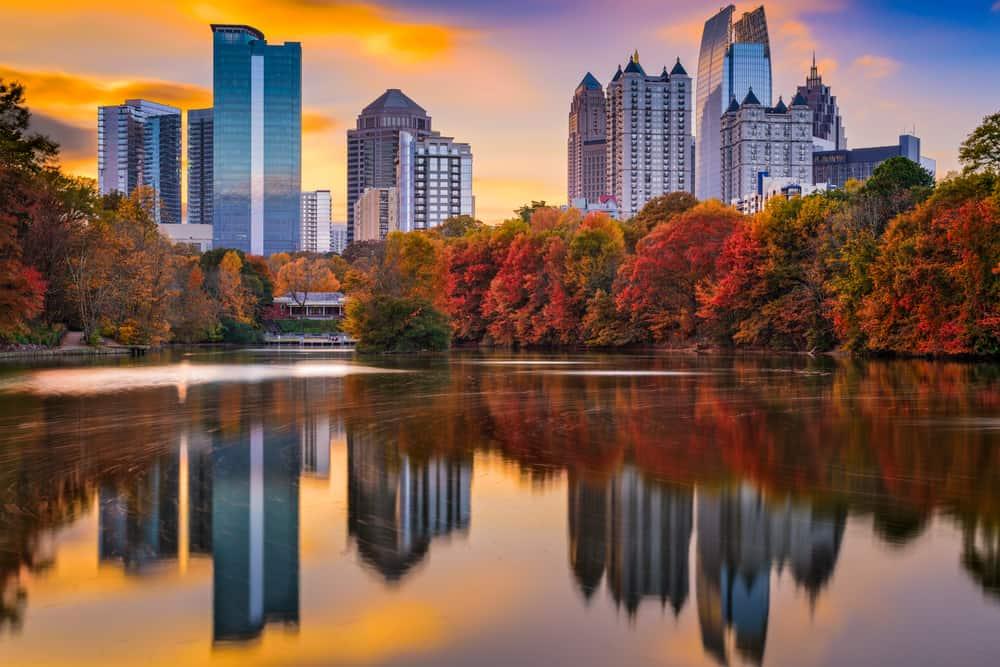 USA - Georgia - Atlanta, Georgia, USA Piedmont Park skyline in autumn.