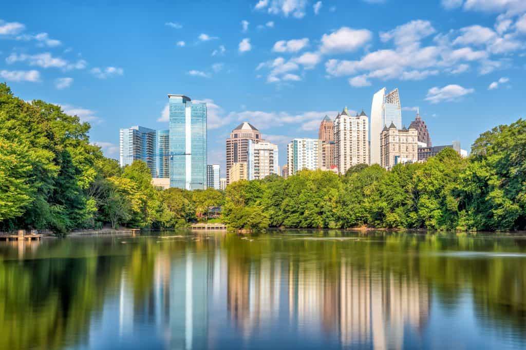 usa - georgia - Midtown Atlanta skyline from the park in USA