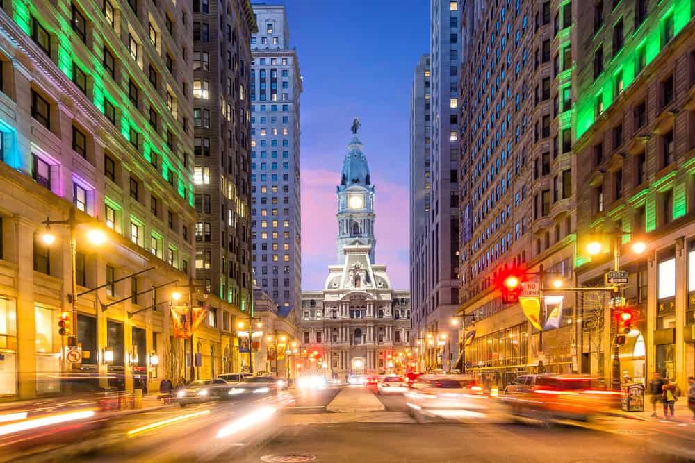 USA - Pennsylvania - Philadelphia streets with traffic at night