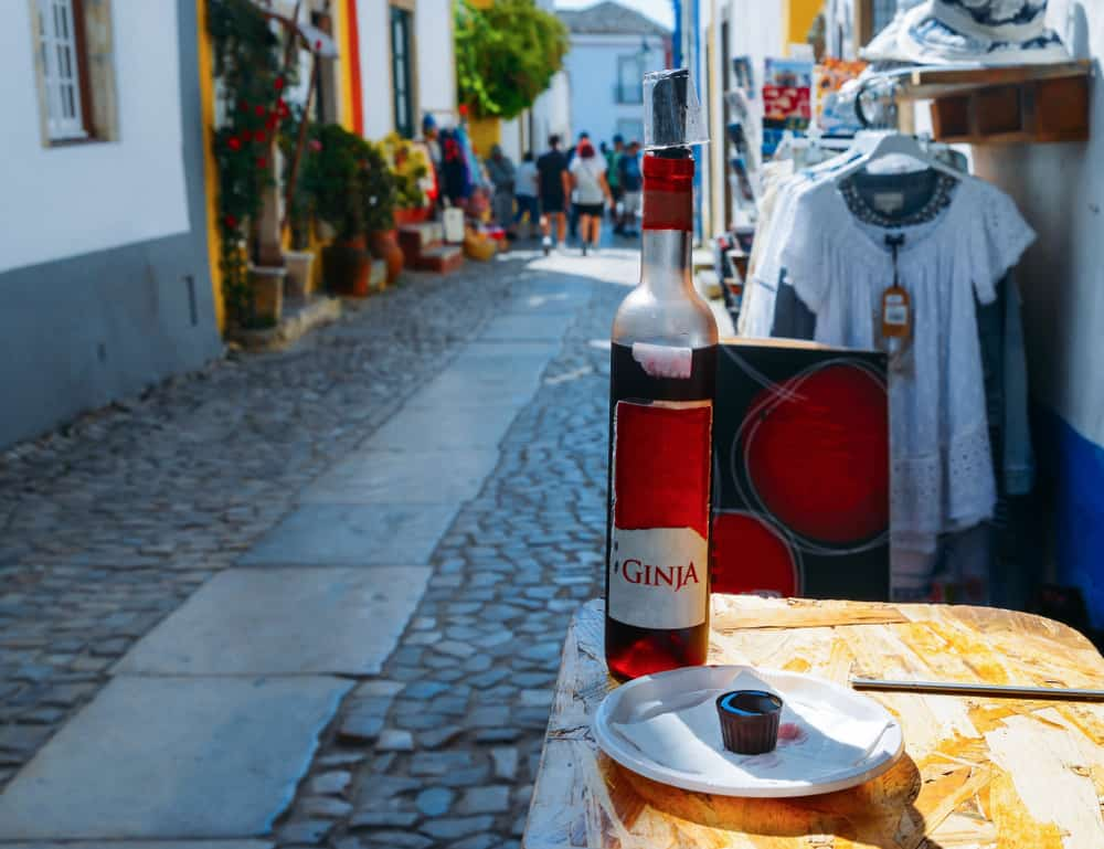 Portugal - Lisbon - Ginja de Obidos, traditional sour cherry liquor, served in small cups made of chocolate