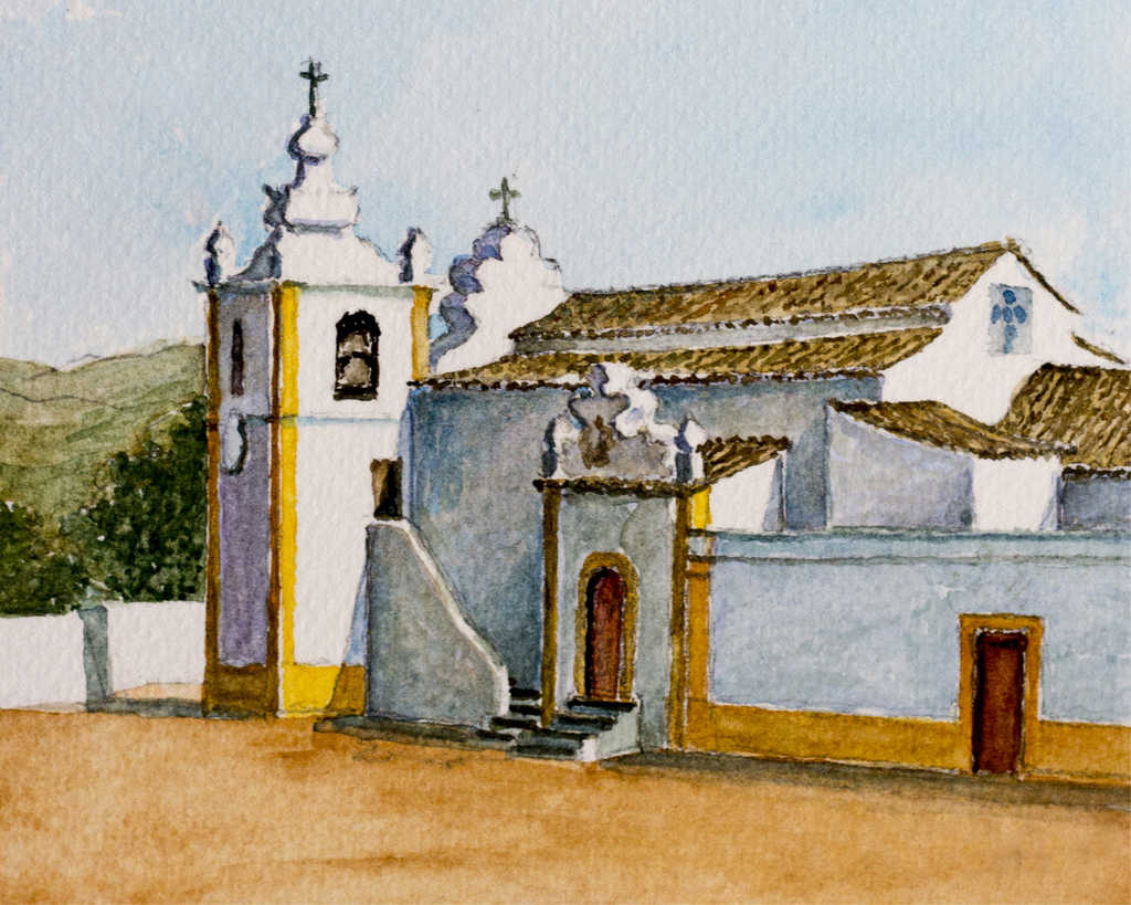 Portugal - XVI century church watercolor painting - Algarve, Portugal
