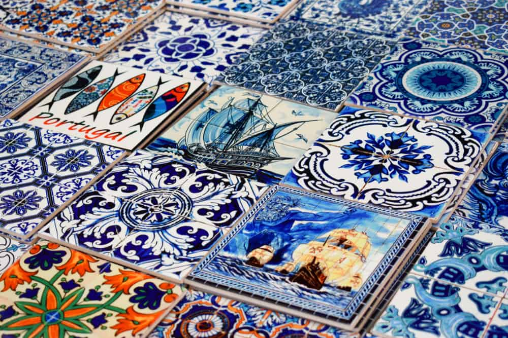 Portugal - Lisbon - Various Portuguese Traditional Azulejos / Decorated Patterned Tiles for sale as souvenirs in Lisbon Portugal