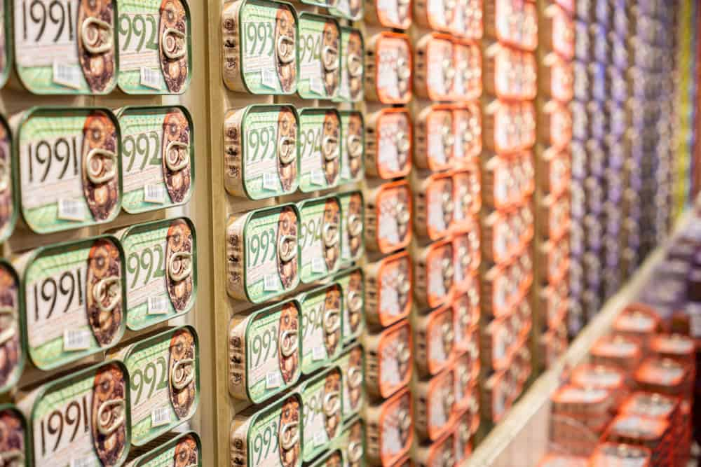 Portugal - Lisbon - Picture of sardines boxes taking a The Fantastic World Of Portuguese Sardines shop in Lisbon.