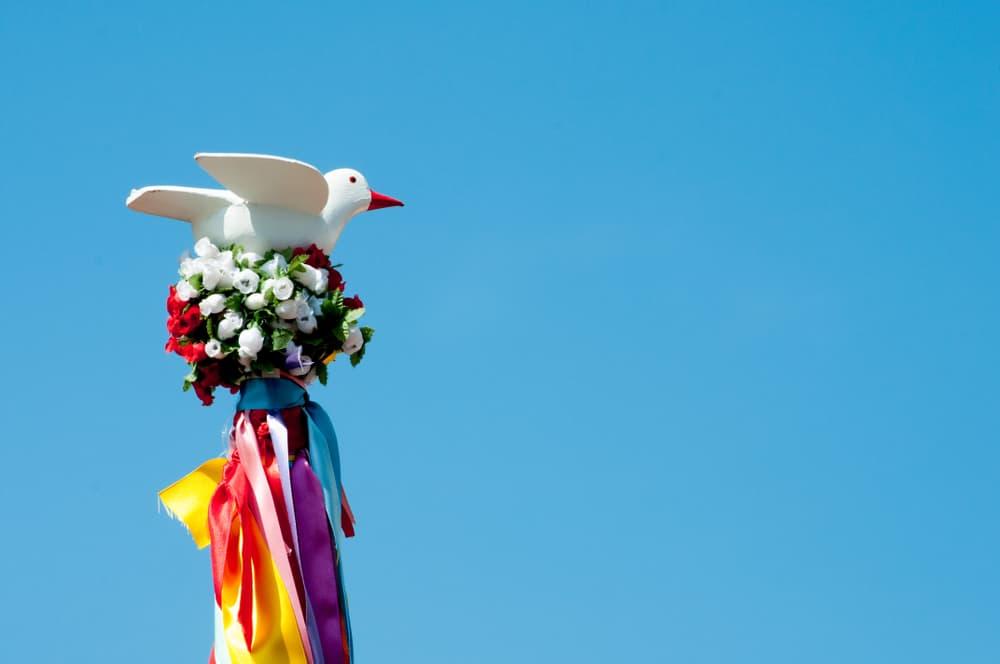 Dove of Divino Espirito Santo with traditional folk festival of Itanhaém