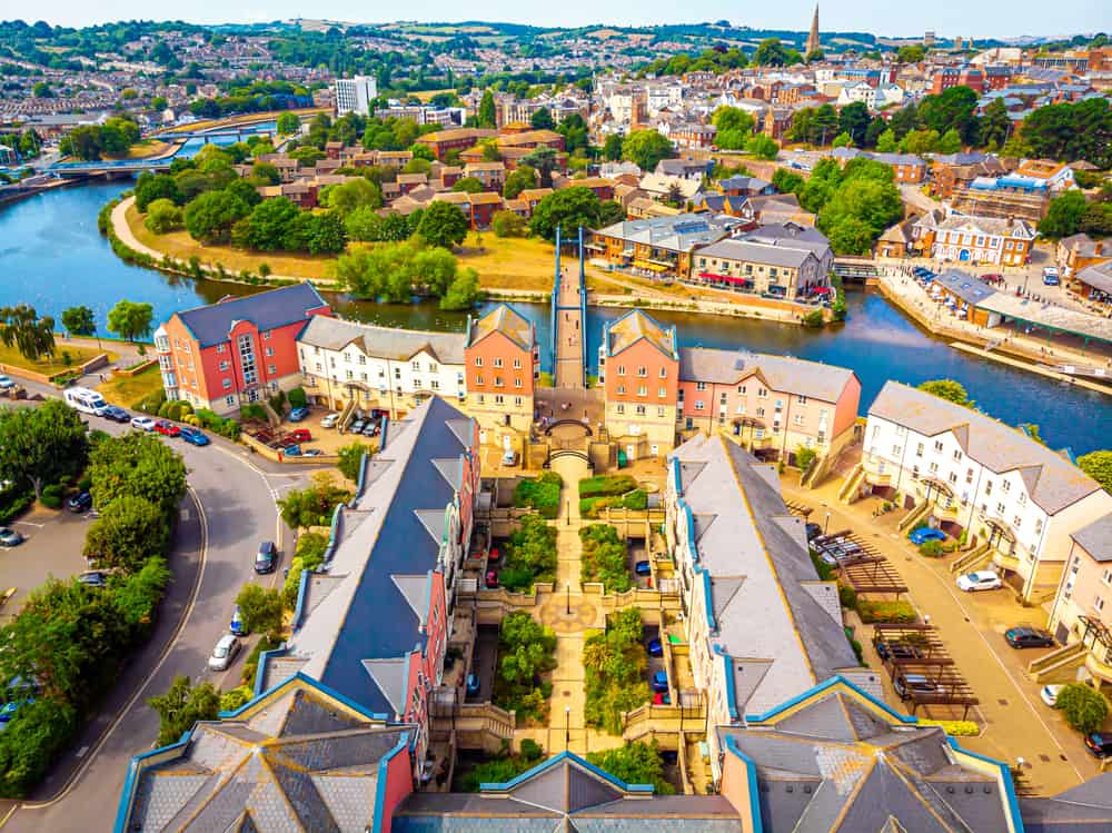 Aerial view of Exeter in summer day, UK