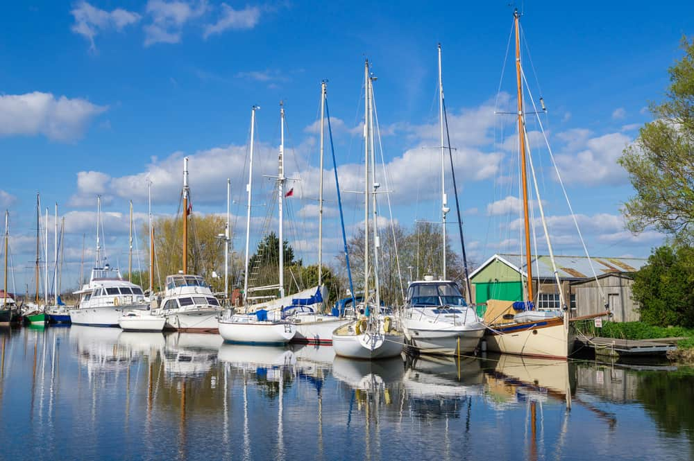 Sailing Boats and Yachts Moored on the Exeter Canal at Turf Lock