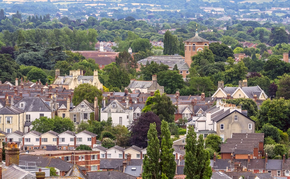 View of the English city of Exeter. The administrative center of Devon County. England.