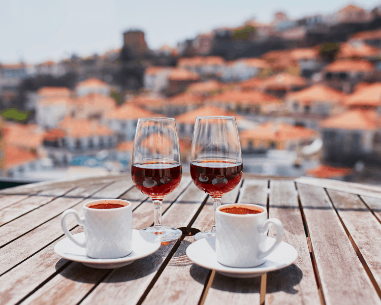 Portugal - Madeira - Drinking wine and coffee in Funchal