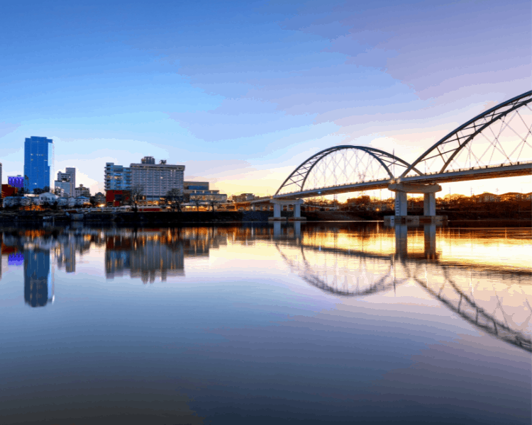 Arkansas - Downtown View of Bridge and River at Sunrise - Things to Do in Little Rock AR