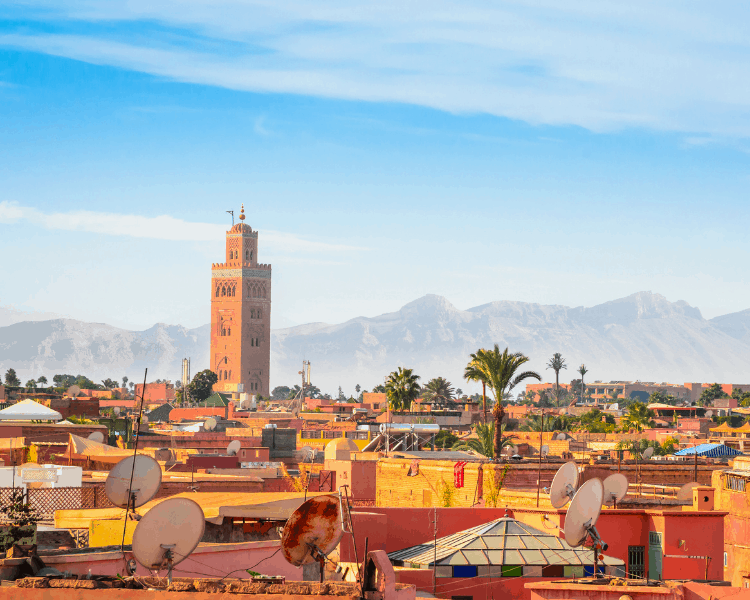 Panoramic view of the Old Medina in Marrakesh Morocco